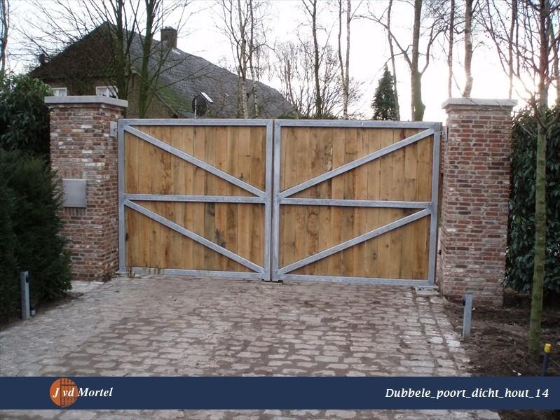 Bedwelming Dubbele poort dicht hout projecten - J vd Mortel Hekwerken & Poorten &MS28